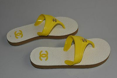 72d7590fe NEW CHANEL FLIP Flops Sandals Flats YELLOW CC Logo Jelly Shoes 37 ...
