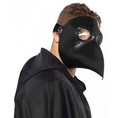 Plague Doctor Mask Black Adult Scary Halloween Costume Fancy Dress