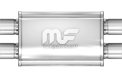 """Magnaflow 5x8 18/"""" Oval Straight Through Muffler 3//2.25/"""" In//Out Center//Dual 12278"""