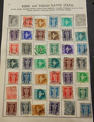 40 India Stamps On Hinges