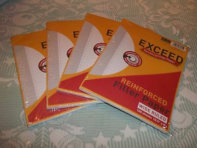 4 Packages Exceed Reinforced Wide Ruled Loose Leaf Filler Paper, 100 Sheets