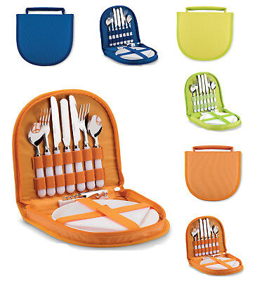 2 Person Place Setting Picnic Set in polyester case easy carry handle TRAVEL Car