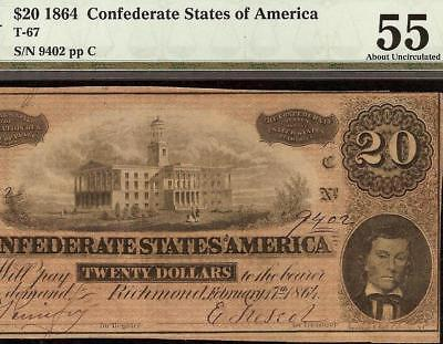 1864 $20 Bill Confederate States Currency Civil War Note Paper Money T-67 Pmg 55
