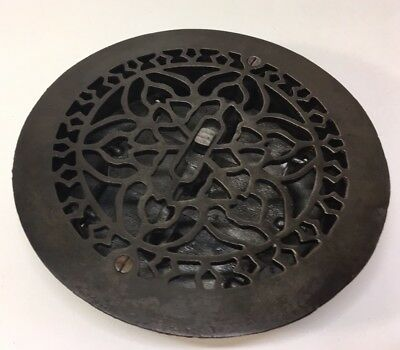 "Vintage Antique Cast Iron Round Floor Heat Grate Register Old 8"" Restored Works"