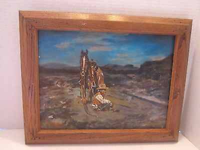"Vintage Oil Painting Western Horse & Cowboy. Signed G. Martell. 9""x12"". framed"