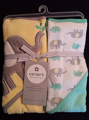 NEW/NWT-Carter's Hooded Baby Towel-Set of 2/Elephant/Yellow-Gray-Mint/Boy-Girl
