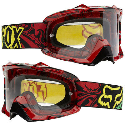 Fox Racing Air Space Encore Rasta Clear Lens With Adult Red Goggles Mx Dirtbike