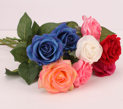 Fashion Bouquet Decor Silk Real Touch Wedding Home Webbing Rose Party Flower 520