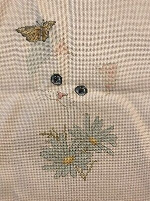 Vintage Completed Bob Harrison Cat Kitten Butterfly Cross Stitch