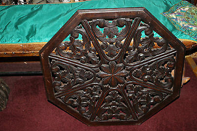 LARGE Antique Wood Carving Wall Plaque-8 Sides-Carved Scroll Floral Pediment