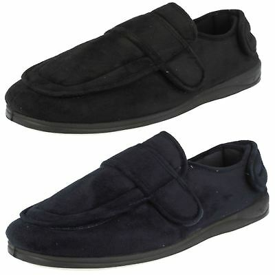 Mens Padders Wrap Navy Rip Tape Strap Slippers Wide G Fitting