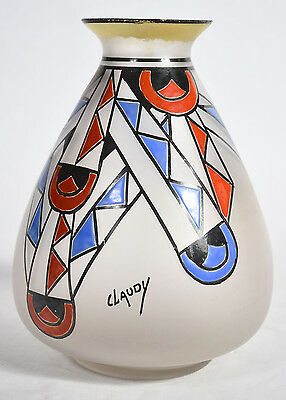 Old Art Deco French Geometric Enameled Frosted Satin Glass Vase Signed CLAUDY