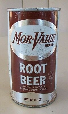 Rare 1960's Straight Steel Flat Top Mor-Value Root Beer Soda Can Top Open