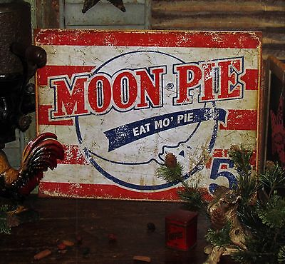 Primitive Antique Vtg Style Red White Blue 5 Cents Moon Pie Brand Metal Tin Sign