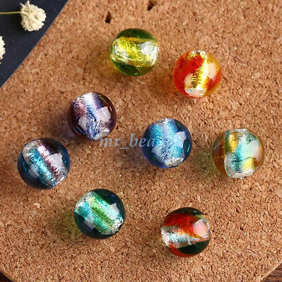 5Pcs Colorful Round Glass Loose Inside Silver Foil Spacer Beads 12mm DIY Finding