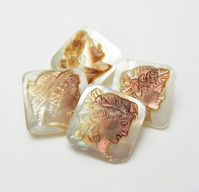 Antique Buttons Set 4 Carved Pearl Cameo Classic Woman Head Square Iridescent
