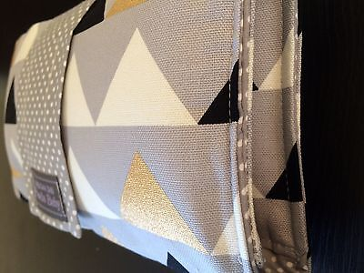 Modern Cotton Nappy Clutch/wallet in grey and metallic gold Triangles