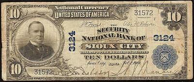 Large 1902 $10 Dollar Bill Sioux City Iowa National Bank Note Currency Ch 3124