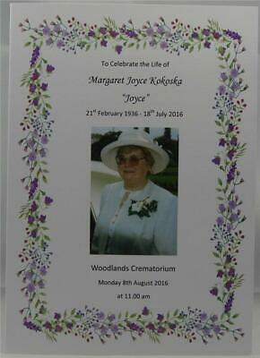 Personalised White Or Ivory A5 Funeral Memorial Order Of Service Floral Design