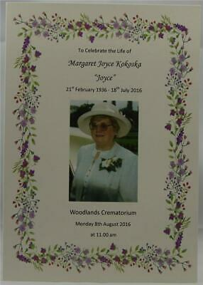 Personalised Ivory Or White A5 Funeral Memorial Order Of Service Booklet Floral