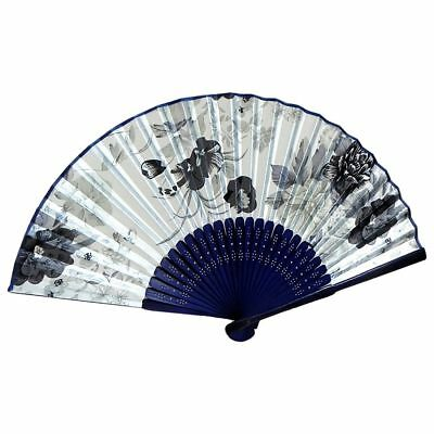 Fabric Chinese Style Floral Pattern Dancing Folding Hand Fan White J5E5