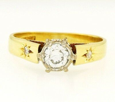 Vintage 18Carat Yellow Gold & Plat Diamond (0.33ct) 5mm Solitaire Ring (Size I)