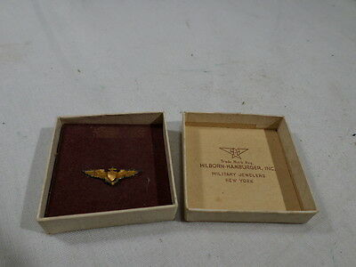 WWII VINTAGE BOXED US Navy USN Pilot Wings Hillborn Hamburger