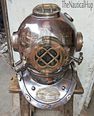 "Antique 18"" Inch Diving Helmet US Navy Mark V Deep Sea Divers Helmet Replica"