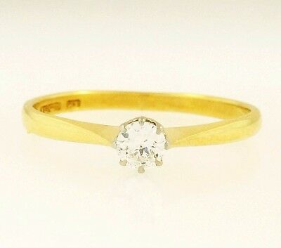 Vintage 18Carat Yellow Gold & Plat (0.10ct) Diamond Solitaire Ring (Size M)