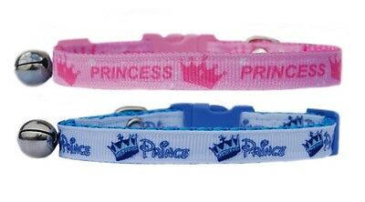 pink or blue & white Prince or Princess  safety kitten cat collar bell