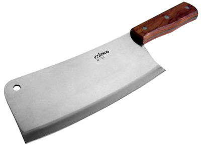 "Meat Cleaver Knife Heavy Duty Steel Chinese 8"" Blade Handle Wooden Kitchen Winco"