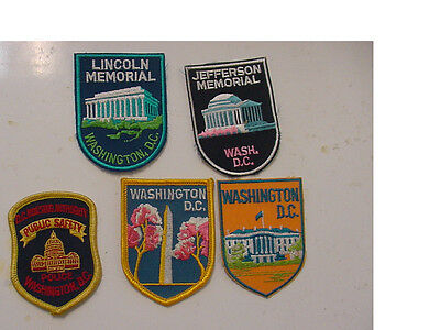 5 PATCH WHITE HOUSE,MONUMENT,LINCOLN,JEFFERSON,DC HOUSING  embroidered  iron on