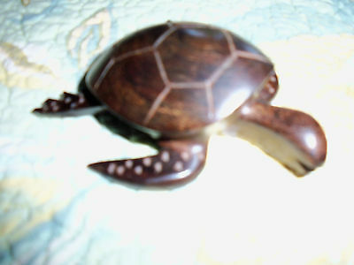 Wooden Solid Dark Wood Sea Turtle Statue Figurine