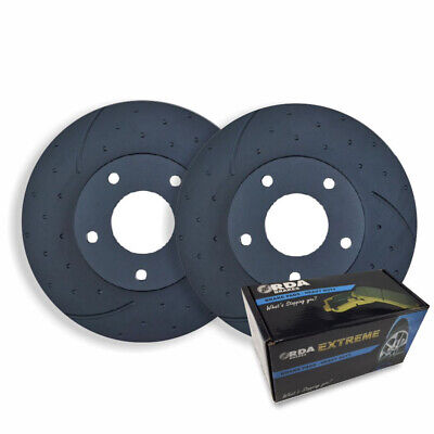 DIMPLED SLOTTED REAR DISC BRAKE ROTORS + PADS for Landcruiser 80 Series 1992-98