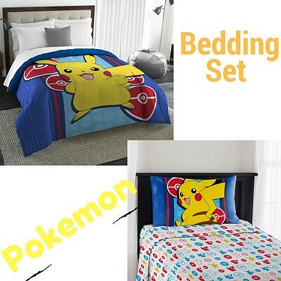 Pokemon Bedding Electric Ignite Sheet Set And Comforter, Twin Size Kids New