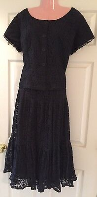Square Dance Black Lace Top & Long Skirt- Large