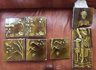 "Lot Of Antique 6""x 6"" Trent Art Tiles Architectural Salvage Green Flowers Girl"