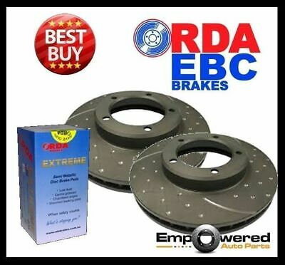 DIMPLED SLOTTED FRONT DISC BRAKE ROTORS+PADS for Toyota Landcruiser UZJ100 98-07