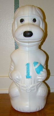 """Vintage Snoopy Football Player 16"""" Tall Blow Mold Plastic Bank Uncut 1475"""