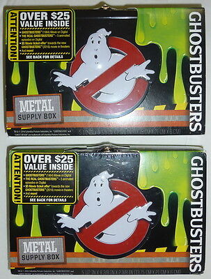 (2) NEW: GHOSTBUSTERS - Metal School Supply Box for Pens & Pencils