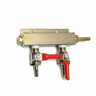 """2 Way Co2 Distribution Block Manifold With 1/4"""" Barbs"""