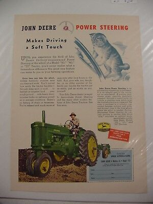 1954 John Deere MODEL 60 Tractor Ad ~ Power Steering Makes Driving A Soft Touch