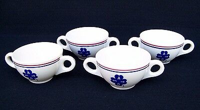 Set Of 4 USAT Double Handled Coffee Cups Old Ivory Syracuse China Rare Vintage