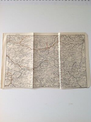 Clun Forest, Montgomery,Westbury,North Wales 1887 Antique Map, Bartholomew Atlas