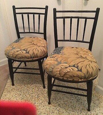 Pair of Antique Bamboo Chairs with Tapestry seats