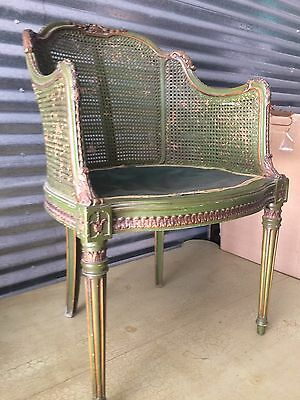 Vintage French Style Green Painted  with Wicker Chair
