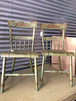 Reduced!!Antique  Green Strnciled Chairs