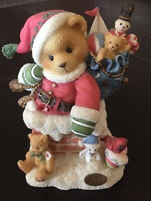 Cherished Teddies Figurine Kris Santa On Rooftop
