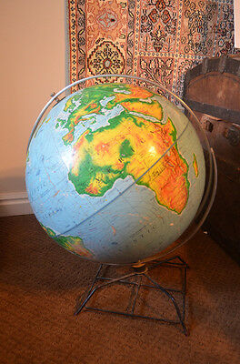 """Vintage 1950s 16"""" NYSTROM World Globe Metal Footed Stand Classroom"""