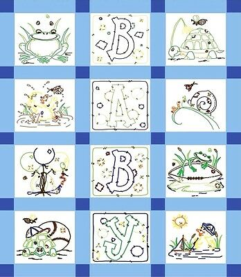 Fairway Stamped Embroidery Pack Baby Quilt Blocks Set of 12 ~ FROG #92368 Sale